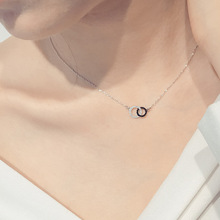 925 Sterling Silver Necklaces Rhinestone Double Circle Pendant Necklace Jewelry Collar Colar de Plata(China)