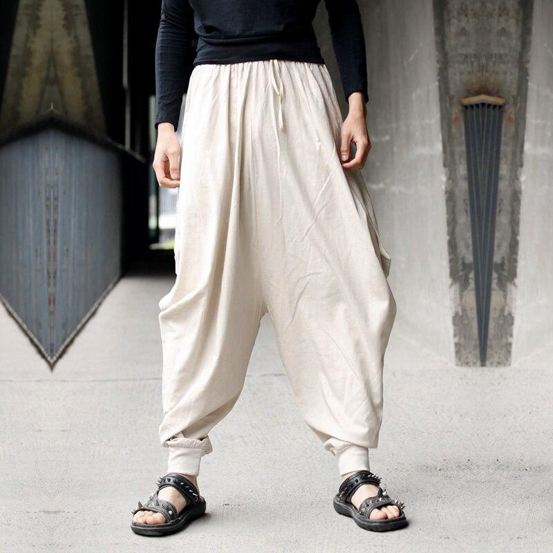 Mens Black Hip HOP Trousers Hakama Japanese Fashion Boho Harem Cotton Pants