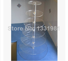 7 layers of circular acrylic cake tower cup cake tier 7 turn wrappers The wedding festival cake display shelf decoration(China)