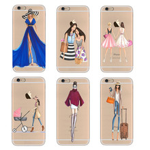 Transparent Soft TPU Phone Case Cover For iPhone 5 5S SE 6 6s 7 7 Plus Fashion Dress Shopping Girl Mobile Phone Bag