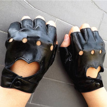 Hot Fashion Novelty Women Driving Sport Fingerless imitation leather Gloves Mitten PU Material lange handschoenen Vicky(China)