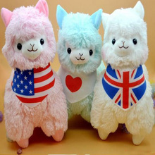Cute Size 45cm Adorable Wearing Flags Japan Alpaca Plush Toys 5 Colors Giant Plush Animals Sheep Liama Toy Birthday Present(China)