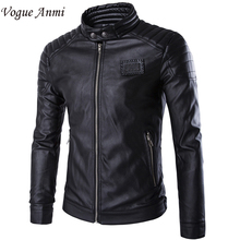 Vogue Anmi.Winter Leather Jacket Motorcycle Coat Men Outerwear Male Slim Fit Down Leather Jacket Fitness Men's Clothing Suits(China)