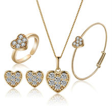 Gold-Color Baby Jewelry Set Gift Children Heart Jewelry Sets Kids Jewellery Ring Earring Bracelet Pendant Necklace S18K-50