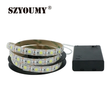 SZYOUMY 5V 60led/m Battery Powered 5050 White/Warmwhite LED Strip Light Kit Waterproof For TV Cabinet Bike Outdoor Decoration