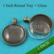 1 inch Cabochon Pendant Tray, Antique Bronze 25mm Pendant Tray Settings + Clear Glass Cabochons, Glass Pendant Kits