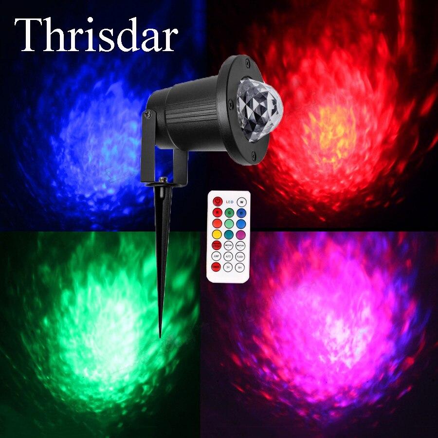 Thrisdar IP65 Outdoor Laser Projector Stage Lights Water Wave Ripple Effect Christmas Landscape Spotlight Garden Laser Light<br>