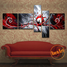 Handmade Modern Abstract Oil Painting on Canvas 5 Piece Wall Art Pictures Black White and Red Paintings Home Decor No Frame