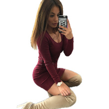 Buy 2017 new Fashion Autumn sexy party Women Wine Red Black Bodycon dresses Winter O-Neck Long sleeve Slim Dress Mini Vestidos for $4.49 in AliExpress store