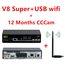 Freesat V8 Super satellite internet TV receiver with USB wifi and 1 year Europe CCcam Cline dvb-s2 Decoder Newcam better than V7