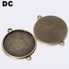 DC 10pcs/lot Antique Bronze Color Blank Pendant Tray Base Brazel Connector fit 8/10/12/14/16/18/20/25mm Cabochon Cameo Findings