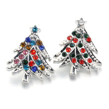 2 colors Crystal Christmas tree gift 18mm snap button Wrist watches for women charm DIY jewelry bracelet one direction 010717