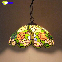 FUMAT Glass Chandeliers Restaurant Bar Bedroom European Pastoral Flowers Creative Art lighting Stained Glass Light Fixtures
