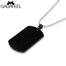 GAGAFFEL Dog Tags Military Army Cards Men Jewelry Laser Custom Engraved Logo For Men Black Stainless Steel Pendant Necklaces(China)