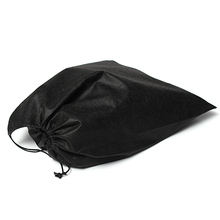 Non-Woven Fabric Storage Bags Convenient Square Travel Drawstring Portable For Shoes Container Black White