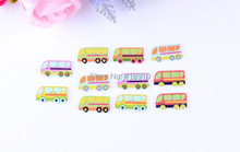 Free shipping -100PCs  Mixed Lovely Bus  car 2 Holes Wood Sewing Buttons Scrapbooking 30x16mm,D2772