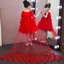 Flower Girl Lace Dress Children Red White Mesh Trailing Butterfly Girls Wedding Dresses Piano Playing Party Kids Gown Clothing