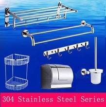 Modern 304 Stainless Steel Bathroom Hardware Hanger Set Towel Rack Bar Paper Holder Shelf Hook Brush Discount Package Sanitary(China)