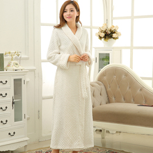 Hot Sale Women Men Thick Warm Bathrobe Extra Long Silk Soft Kimono Bath Robe Femme Dressing Gown Bride Bridesmaid Robes Wedding(China)