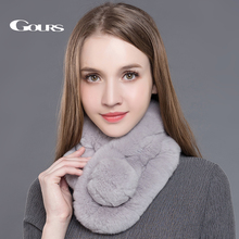 Gours Women's Real Fur Scarf High Quality Luxury Big Rex Rabbit Fur Scarves Thick Warm Winter Fashion Brand New Arrival GLWJ005(China)