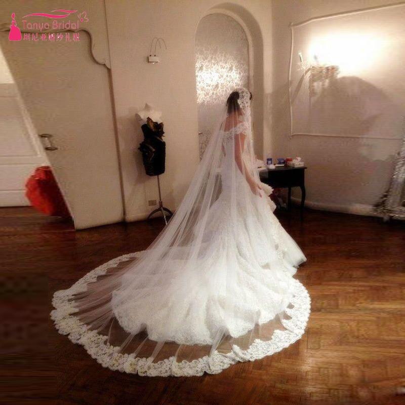 Long Bridal Veils Elegant Brides Wedding Accessories Lace Liques Edge White Ivory Champagn