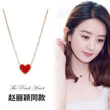 Fashion Classic Red Green Black White Charms Heart Pendant Rose Gold Color Short Clavicle Chain Necklace for Women(China)