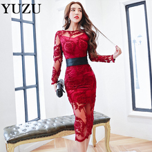 Sexy Red Embroidery Party Dresses Women Perspective Mesh Three-dimensional Floral Embroidered Autumn Dress With Black Bow Belt
