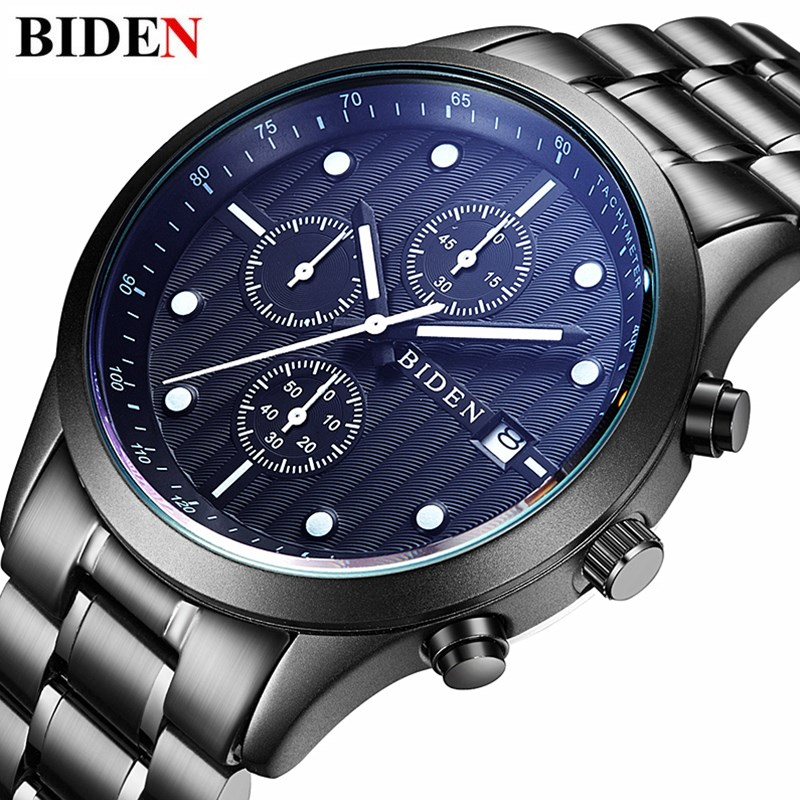 BIDEN Men Luxury Stainless Steel Strap Chronograph Mens Watches Fashion Casual Famous Brand Sport Quartz Watch Relogio<br>