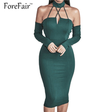 Buy ForeFair New Women Shoulder Backless Sexy Bandage Bodycon Party Dresses Women Long Sleeve Midi Halter Autumn Dress
