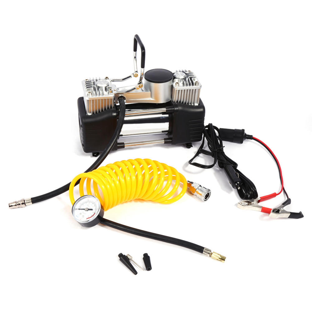 Portable Car Tire Inflatable Pump Mini Double Cylinder Car Air Compressor DC 12V 150PSI Pressure Pump Kits For Car Emergency