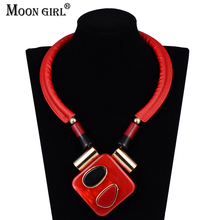 MOON GIRL Leather Chain Red Choker Ethnic Necklace Jewelry Display 2017 New Fashion Statement Acrylic necklaces & pendants women(China)