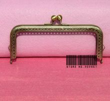 10pcs 15cm sewing purse Metal frames Antique bronze Square frame with Round kiss clasp bag accessory Freeshipping(China)