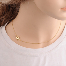 Unique Fashion Sideways Letter Necklace Jewelry,Tiny Initial Necklace Couples Necklace Gold/Silver Pendant Necklace Gift Idea(China)