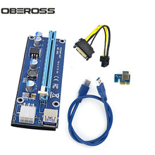OBEROSS 006C USB 3.0 PCI-E Express 1X to 16x Extender Riser Adapter Card SATA 15pin Male to 6pin Power Cable for Bitcoin Miner