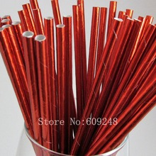 100pcs Plain Red Metallic Foil Paper Straws,Solid Pure Color Wedding Christmas Valentines Holiday Birthday Party,Mason Jar Bulk(China)