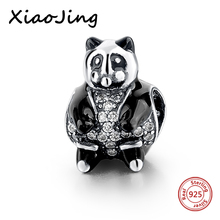 Charm  925 Original  Black Enamel Teddy Bear Charms Bead European Charms Bracelet For Women Jewelry Accessories Gift