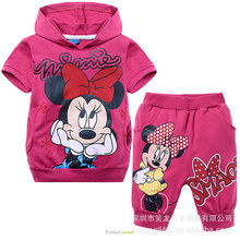 2015 baby Fashion Cartoon clothes Suits Girls Minnie Mouse clothing gril's 100% cotton shirts+pants 2pcs Children Clothing Set