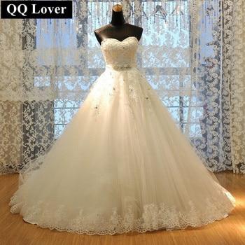 QQ Lover 2017 Vestido De Noiva Princess Tube Top Beading Bride Wedding Dress Plus Size Wedding Gown Custom-made