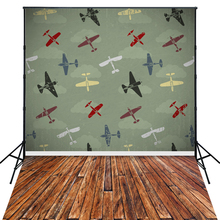 4X6ft Art Fabric Airplane Theme Photo Backdrop for Kids Photo Shoots D7540(China)