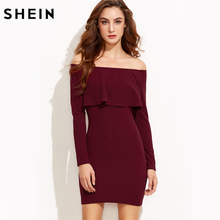 SHEIN Burgundy Flounce Elegant Party Dress,Women 2017 Autumn Trends Sexy Bodycon dresses,Smart-Casual Clothing,Off the Shoulder