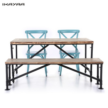 iKayaa US Stock 4PCS Industrial Style Pinewood Top Kitchen Dining Breakfast Table+Bench+2*Steel Chairs Home Table Set Furniture