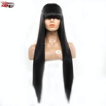 DLME Hair Full Fringe Glueless Silk Straight Lace Front Wig With Bangs 150% Density Bleached Knots For Black Women Synthetic(China)
