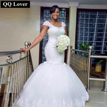 QQ Lover 2017 Luxury African White Wedding Dresses Mermaid Plus Size Bridal Gown Vintage Lace Up Short Sleeves Vestido De Noiva
