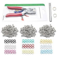 9.5mm 100 Sets 10 Colors Metal Sewing Buttons Prong Ring Press Studs Snap Fasteners + Clip Pliers(China)