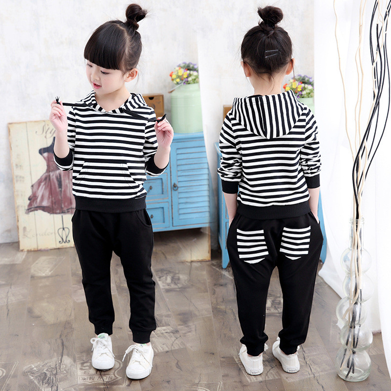 Kids Girls Sets 2017 Spring Autumn Fashion Casual Style Cotton Striped Hooded Suits Childrens Girls Clothing Tracksuits<br><br>Aliexpress