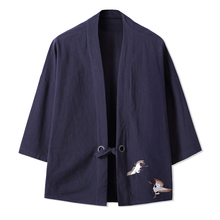 Chinese style Summer linen cotton kimono jacket Cool Japanese Ethnic cardigan coat Hiphop embroidery Streetwear Kimono 061402(China)