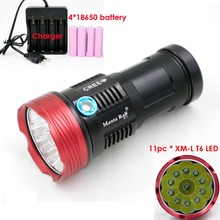 New Portable LED Flashlights 18000 lumens 11 x XM-L T6 Aluminum LED Flashlight Torch For Camping, Hiking Hunting Work Lamp