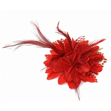 Hot Women Ladies Flower Feather Bead Corsage Hair Clips Fascinator Bridal Hairband Brooch Pin(China)