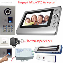 "Video Intercom For A Private House Fingperint Keyboard IP65 Waterproof CCD Camera Video Door Phone And Screen 7""Color+Door Lock(China)"