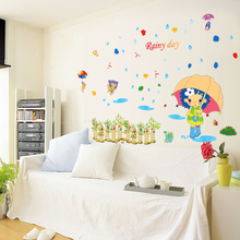 Raing Wall Stickers for Kids Rooms Daycare Wall Decorations Nursery Decor Children Poster Mural Decal(China)